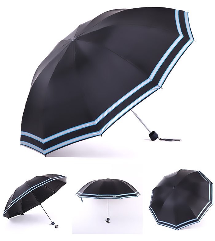 Special Fabric Material Manual Open Safety 3 Fold Reflective Umbrella