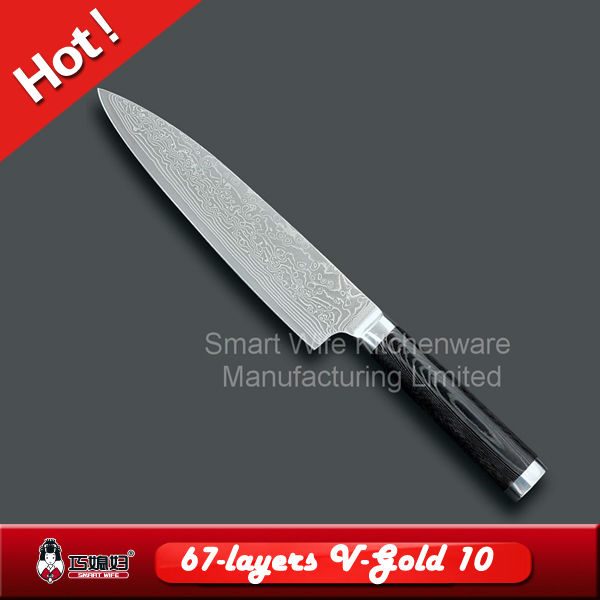 Damscus kitchen chef knife cook knife with fashion wave pattern