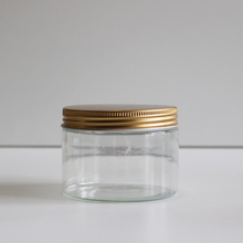 Cheap plastic face mask jar container wide mouth jar 300g clear PET jar with gold aluminum lid