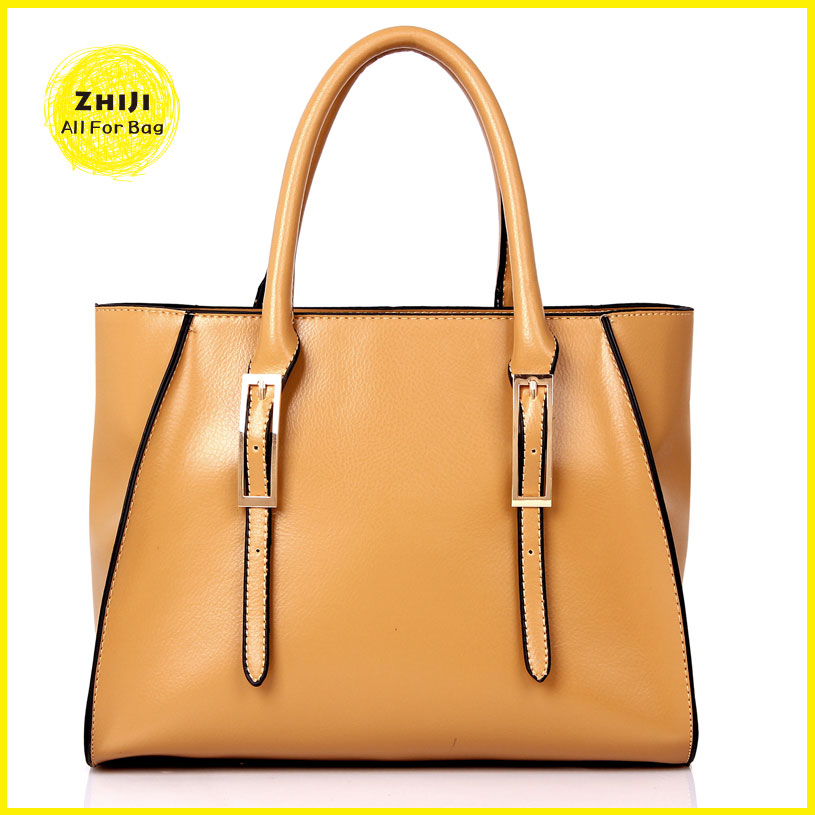 Custom Manufacturer Asia Woman Handbag Patchwork Design Brown Leather Bag