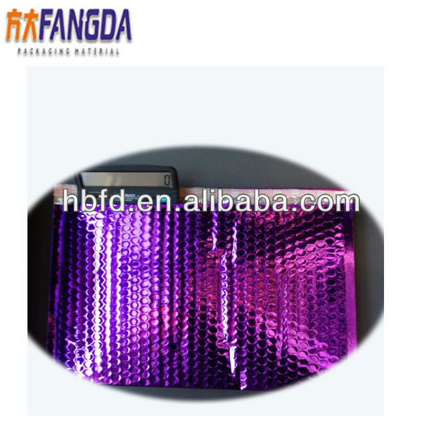 purple metallic aluminum foil bubble mailer