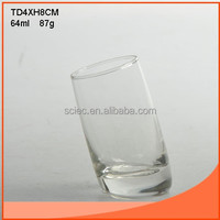 64ml tilted shot glass with sloping bottom