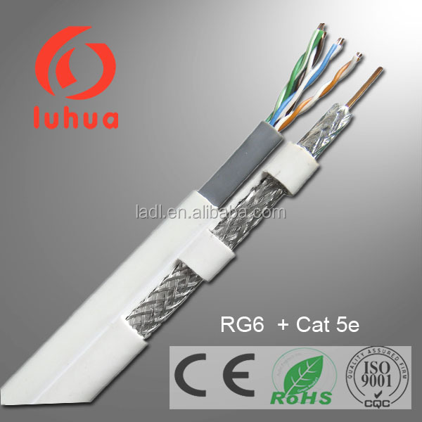 24AWG 4 Pair UTP CAT5E Cable with RG6 , High Transmission UTP CAT5E Ethernet Cable