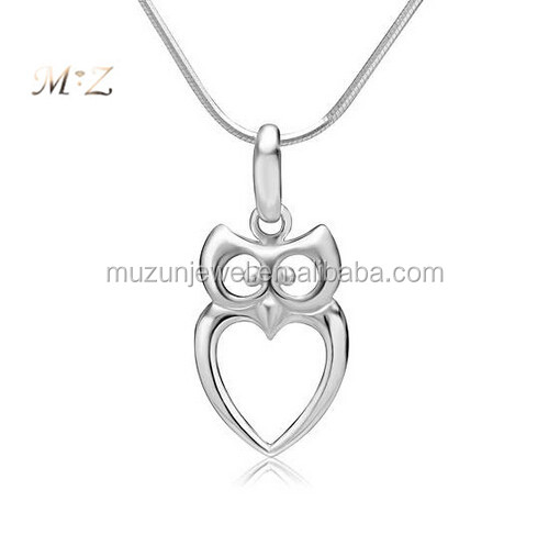 925 Sterling Silver Owl Bird Heart Shaped Charm Pendant Necklace
