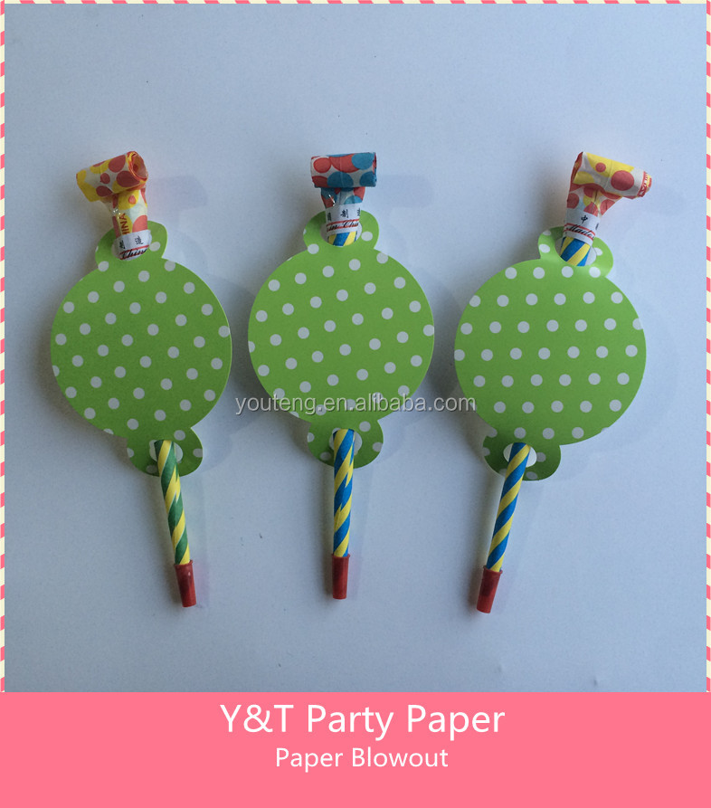 Lime Green Polka Dots Party Paper Tube Blowout Party Paper Noise Makers