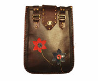 Chocolate color leather ladies string bags and purses for phones and tablets