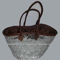 Handcrafted Moroccan silver wicker basket n2