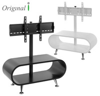 Bentwood LCD TV Stand With Metal Base, Curved Wood Modern LED TV Stand