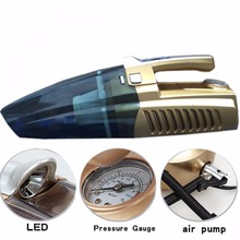 4 IN 1 PORTABLE CAR VACUUM CLEANER WITH LED LIGHT AND TIRE INFLATOR AND PRESSURE GAUGE