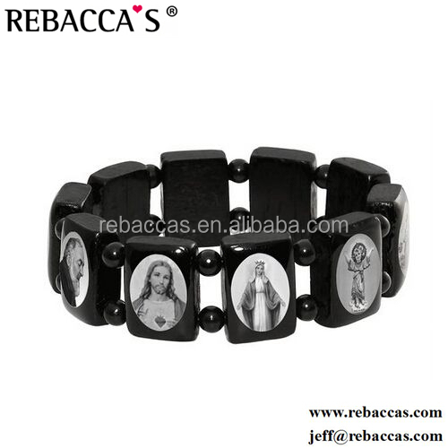 Rebaccas wood rosary bracelet with religious pictures