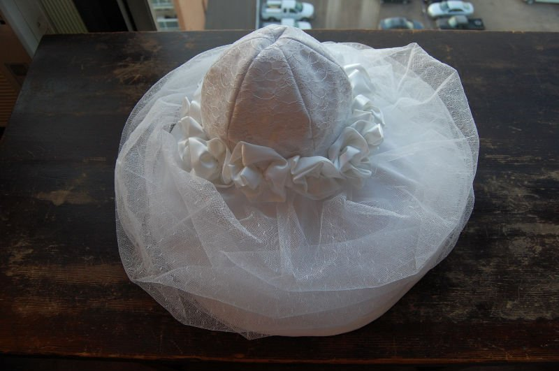 WHITE BRIDAL HAT