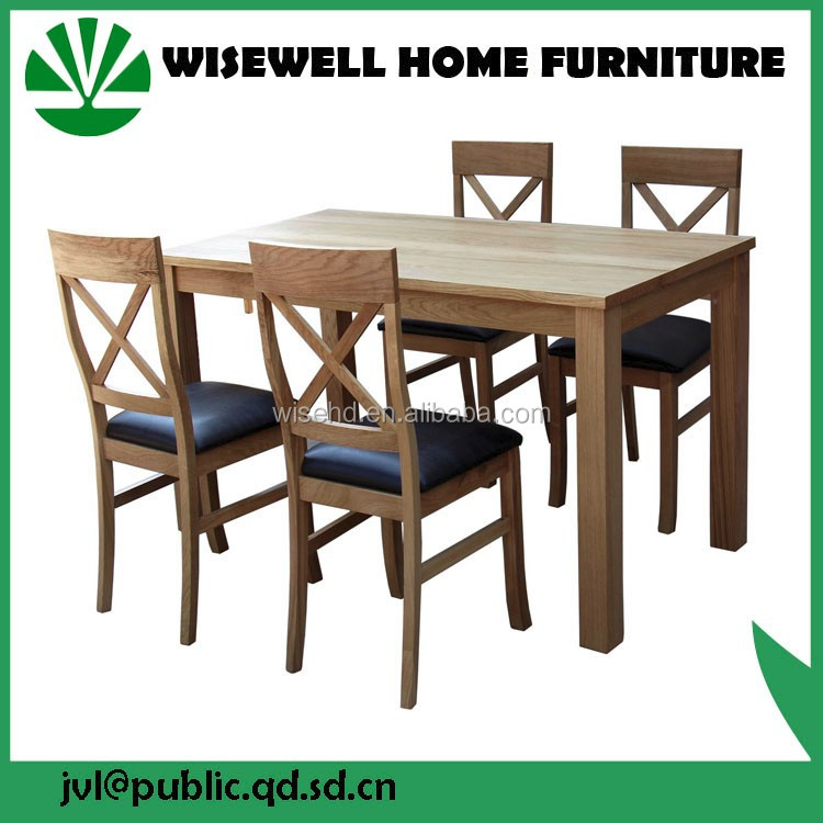 W-DF-0627 low cost dining set in pine wood