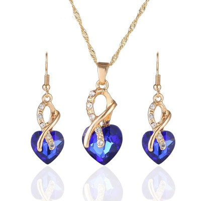 F105 2017 Crystal Heart Necklace Earrings Jewellery Set for Women Bridal Wedding Accessories