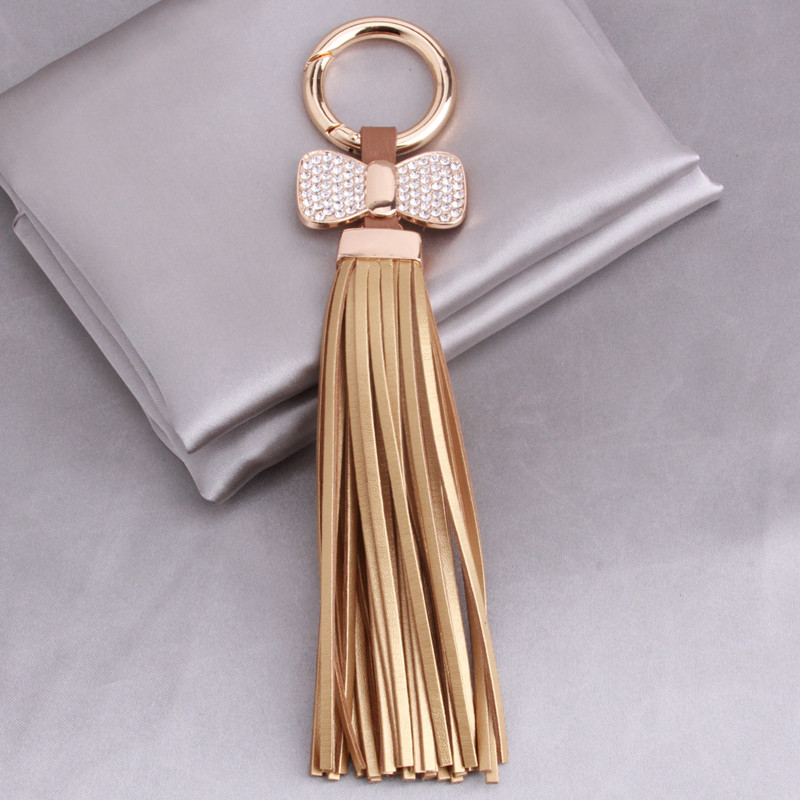 Luxurious Leather Tassels Bag Hanging With Bow Key Chains Alloy Key Ring Keychains Jewelry For Bags Car Phone Decoration