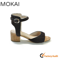 MK086-1 BROWN newest design ankle strap ladies dress shoes wholesale shoes supplier