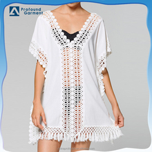 crochet beach kaftan dress for women white cotton sexy kaftan 2016 wholesale custom design fabric woman clothing made in china