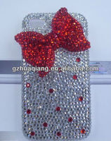 Red and white bow design high quality shiny diamond for iphone4/4s/5 cover case