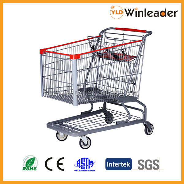 Heavy duty trolley type and steel material heavy duty shopping trolley with child seat
