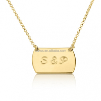 24k Gold Plated Two Initial Vertical Dog Tag Style Necklace