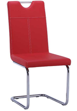 PU backrest and seat metal round tube chrome dining chair