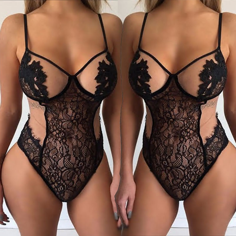 B31156A Wholesale europea women ultra-sexy one-piece halter neck lace romper jumpsuit lingerie