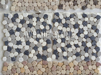 Italian style black grey white color rounded pebble mosaic tiles