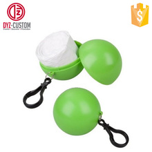 Promotional Logo Printed Disposable Raincoat Ball Keychain