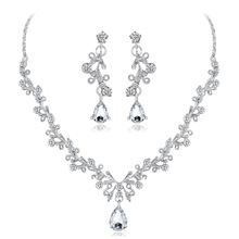 Bride <strong>necklace</strong> earrings two-piece sell like hot cakes Shiny suit high-end crystal diamond <strong>necklace</strong>