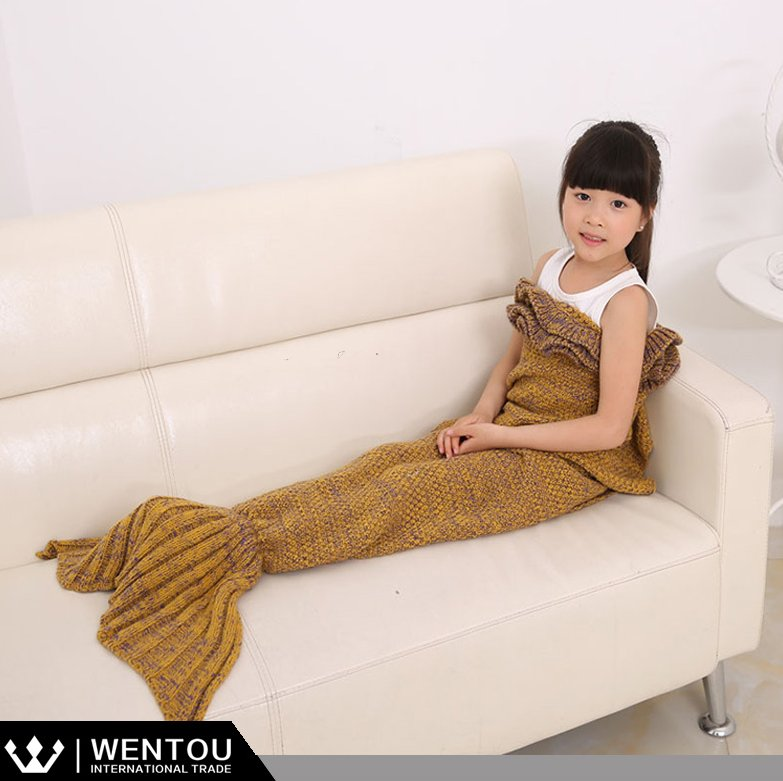 Hot Sale Crochet Mermaid Tail Blanket For Children
