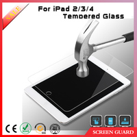 9H 0.3mm ultra thin superior clear tempered glass protector for ipad2/3/4 tough screen protector