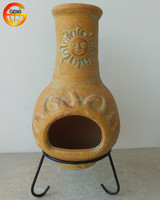 antique outdoor clay chimenea with metal stand