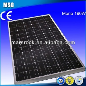 190W 36V Monocrystalline Silicon Solar PV Module with CE, TUV, RoHS, UL Certificates