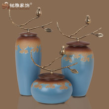 modern home decor luxury interior design flower vase pottery with copper handle
