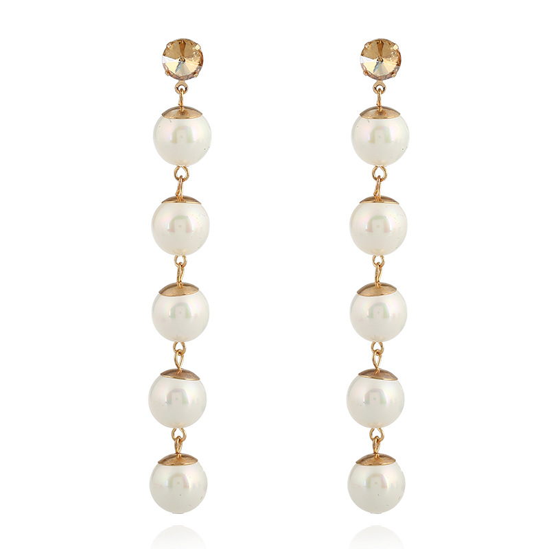 Girls Girft Classical Plated Gold Strand Freshwater Pearl Earrings Crystal Stud Earring