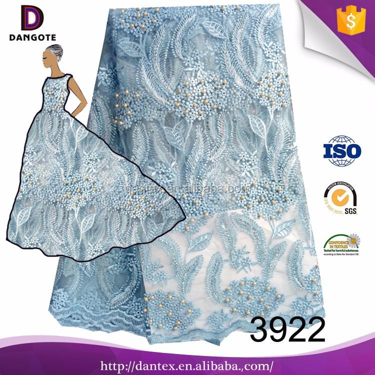 Dangote 3922 Good quality light blue tulle lace fabric lace material for sale