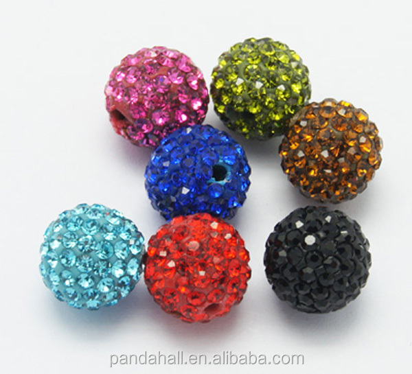 10mm Round Shamballa Beads, Grade A Rhinestone Pave Polymer Clay Beads, 20Pc/bag(RB-Q102-M)