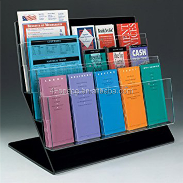 3 Tier Acrylic Counter Booklet Literature Rack with 15 Adjustable Pockets