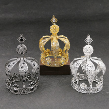 wholesale gold Alloy Handmade Wedding Bridal round tall colorful boy king pageant <strong>crowns</strong> for men