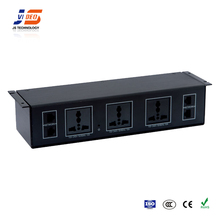 JS-U112 With RJ45 Electrical Power Aluminum Multiple Under Table Socket Outlets