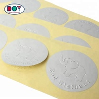 OEM Supplier Custom Adhesive Die Cut 3D Raised Lovely Embossed Logo Matte Silver Foil Label Stickers