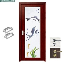 China manufacture top quality glass insert solid wood door