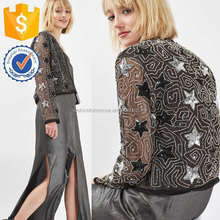 Black Stars Sequin Bead Embellished Latest Fashion Formal Coat For Office Ladies Latest Women Apparel Fashion Jacket (TF0183C)