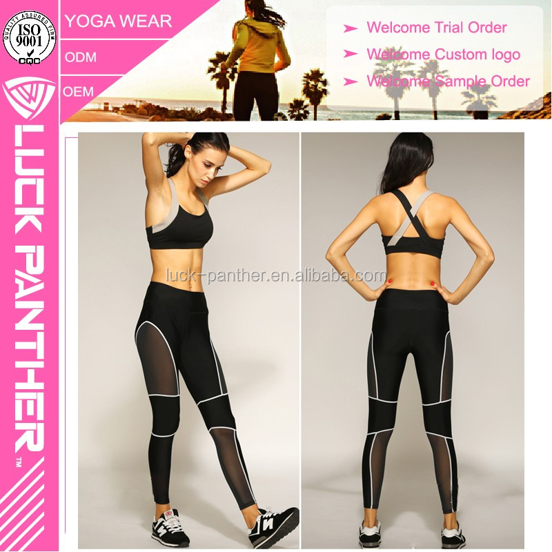 Black Mesh leggings wholesales with customer design and Made in China