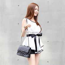 2016 New Summer Chiffon Blouses Elegant Women White Shirts Casual Sleeveless Tops With Belt