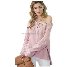 Z57780B fancy ladies tops latest design new style checked knit sweater for women