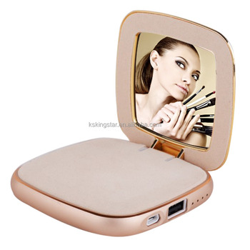 women mirror makeup portable power bank