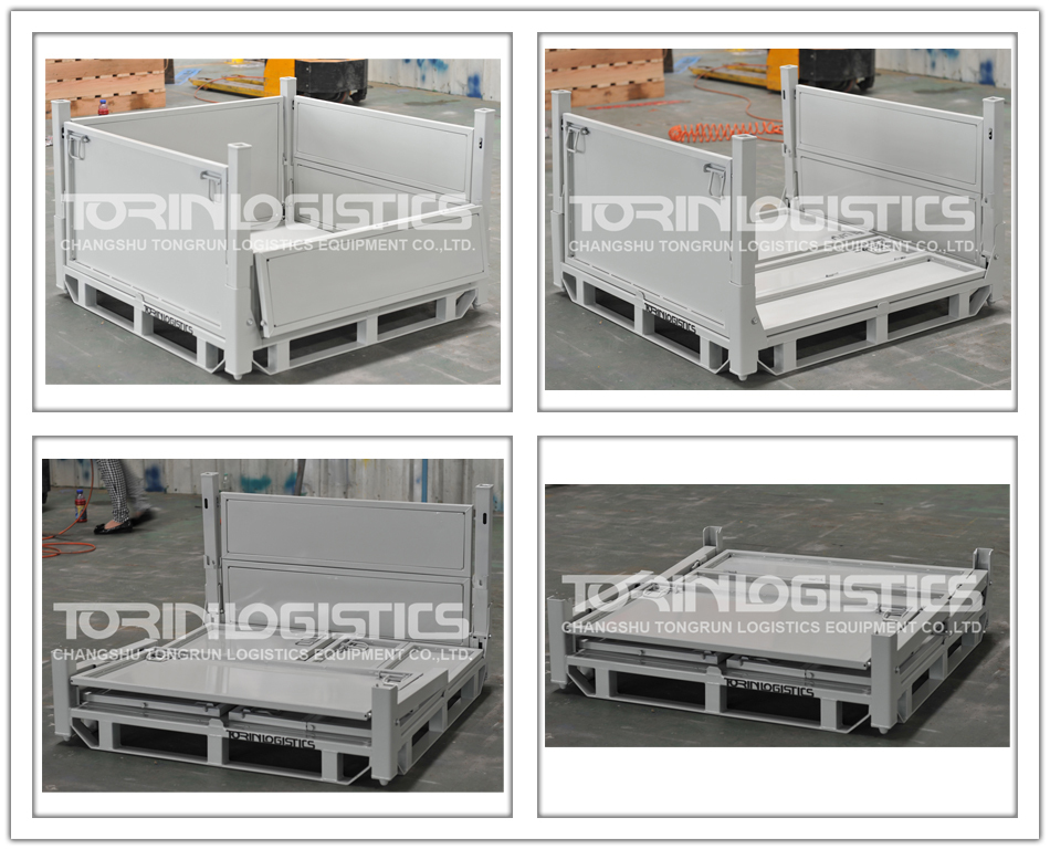 New Product Warehouse Logistic Steel Stackable Storage Box With Pallet