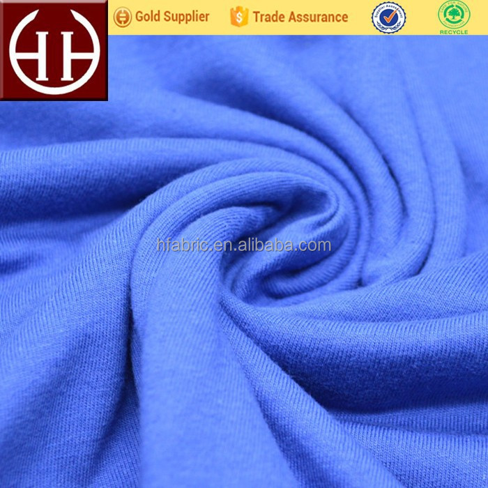 32s Moisture wicking knitted single jersey organic 100% cotton fabric for sweater shirt