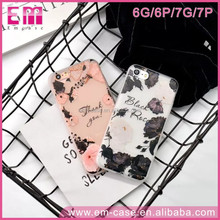 Fashion Printing Roses Galaxy Flower 3D Effect Sublimation TPU Mobile Phone case For iPhone6 6plus 7 7plus
