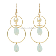 Fashion 24k gold plated jewellery double circle plastic dangle water drop jacket earring